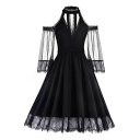 Classic Black V-Neck Cold Shoulder Chic Lace Trimmed Midi A-Line Pleated Party Dress