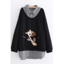 Cute Cartoon Deer Pattern Gingham Print Patched Lapel Collar Long Sleeve Sweatshirt