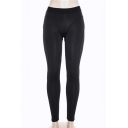 Fashion Sexy Plain Elastic Waist Sports Yoga Black Leggings