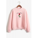 Fashion Letter BEST FRIEND Floral Pattern Crewneck Long Sleeve Relaxed Sweatshirt