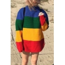Street Style Colorblock Striped Printed Mock Neck Long Sleeve Relaxed Tunic Sweater