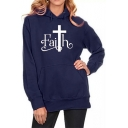 Hot Popular Letter FAITH Pattern Long Sleeve Casual Loose Hoodie