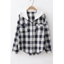 Classic Plaid Pattern Long Sleeve Hooded Button Down Casual Shirt