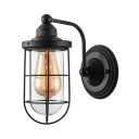 Lantern Single Light Wall Sconce in Black with Clear Glass Shade Industrial Style Wire Cage Wall Lighting for Hallway Farmhouse