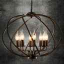 Industrial Wrought Iron 8 Light Large Globe Shade LED Pendant Chandelier