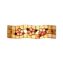 Rectangle Wall Lamp Floral Shelly Tiffany Style 2 Light Wall Sconce in Beige