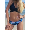 New Arrival Black Halter Hollow Out Top Floral Printed Bottom Bikini