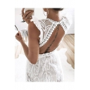 Sexy Hot Style Sleeveless Plunge Neck Hollow Out Back Lace White Beach Maxi Dress