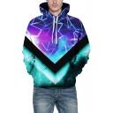 Chic 3D Galaxy Geometric Printed Long Sleeve Purple Sports Hoodie