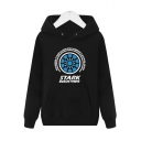 Fashion Letter Circle Pattern Long Sleeve Regular Fitted Cotton Hoodie