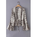 Street Style Flare Long Sleeve Round Neck Lace Up Snake Printed Khaki Shirt