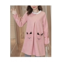 Fashion Contrast Ruffle Round Neck Long Sleeve Cute Cartoon Cat Pocket Mini Swing Dress