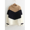 Fashion Mock Neck Long Sleeve Colorblock Leisure Sweater