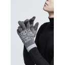 Winter Plush Warm Knit Snowflake Printed Touchscreen Full Fingered Driving Gloves