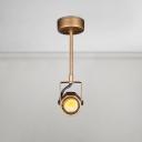Rotatable Geometric Semi Flush Light Retro Style Weathered Steel LED Spotlight for Corridor