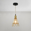 Gold Finish Wire Cage Suspension Light Industrial Steel Single Hanging Lamp for Bar Counter