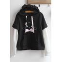Colorblock Layered Long Sleeve Cartoon Printed Bow Embellished Black Hoodie