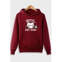 Cartoon Cat Letter COFFEE RIGHT MEOW Printed Long Sleeve Casual Hoodie
