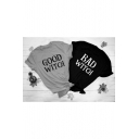 GOOD WITCH Printed Short Sleeve Round Neck Chic Simple Tee