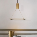 Cylindrical LED Pendant Light with Glass Panels Post Modern 1 Light Hanging Pendant in Gold