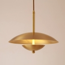 Brass Finish Mushroom Pendant Lights Post Modern Metal Single Light Small Hanging Light
