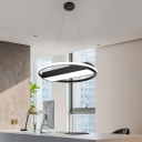 Contemporary Ring LED Chandelier Metal Multi Light Pendant in Black for Bar Counter Dining Room Bedroom