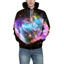 New Arrival Trendy 3D Space Fire Pattern Unisex Loose Casual Pink Hoodie