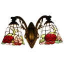 Stained Glass Rose Wall Sconce Tiffany Style 2 Heads Accent Wall Light in Multi Color