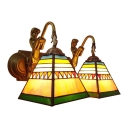 Pyramid Wall Mount Fixture Tiffany Retro Style Stained Glass 2 Heads Mermaid Sconce Lighting