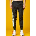 Hip Hop Style Leisure Colorblock Letter Printed Drawstring Waist Sports Unisex Pants
