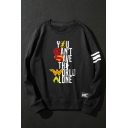 Trendy Letter Graphic Black Cotton Round Neck Long Sleeves Pullover Sweatshirt