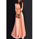Pink Boat Neck Half Sleeve Women's A-line Elegant Plain Dress