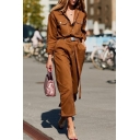 Vintage Brown Button Placket Long Sleeve Flap-Pockets Straight Leg Cropped Jumpsuit