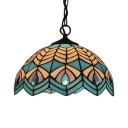 Tiffany Nautical Dome Hanging Lamp Stained Glass Decorative Ceiling Pendant Light in Blue