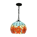Flower Style Ball Hanging Light Tiffany Style Stained Glass 1 Bulb Drop Light in Multi Color