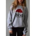 Christmas Cat Printed Long Sleeve Round Neck Oversize Sweatshirt