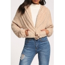 Apricot Simple Solid Long Sleeve Hooded Open Front Fleece Coat with Pocket