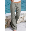 Plain Drawstring Waist Loose Leisure Pants with Pockets