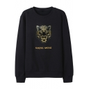 Letter SHENG MENG Tiger Head Embroidered Crewneck Long Sleeve Black Sweatshirt