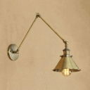 Retro Style Cone Wall Mount Light Metal 1 Light Wall Light in Brass with Adjustable Arm