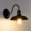 Vintage Curved Arm Wall Lamp Iron 1 Bulb  Wall Mount Light in Black with Curved Arm