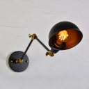 Industrial Semicircle Wall Lighting Adjustable Iron Single Bulb Wall Light Fixture in Black