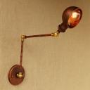 1 Light Arm Adjustable Sconce Light Industrial Steel Lighting Fixture in Rust for Living Room