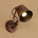 Rust Finish Cup Shade Wall Lamp Retro Style Steel Single Light Wall Light Sconce