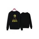 Black Letter POWER Printed Crewneck Long Sleeve Loose Sweatshirt
