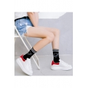 Calf High Striped Universe Printed Cotton Warm Sock