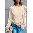 Plain Ruffle Detail Long Bell Sleeve Loose Round Neck Tee