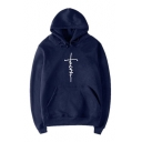 New Fashion Letter FAITH Cross Printed Long Sleeve Unisex Leisure Hoodie