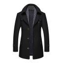 Fashionable Long SLEEVE Notched Lapel Collar Single Breasted Scarf Patched Long Wool Coat for Men