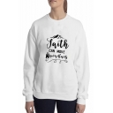 Best Long Sleeve Round Neck Mountain Letter FAITH Printed Loose Girl's Sweatshirt